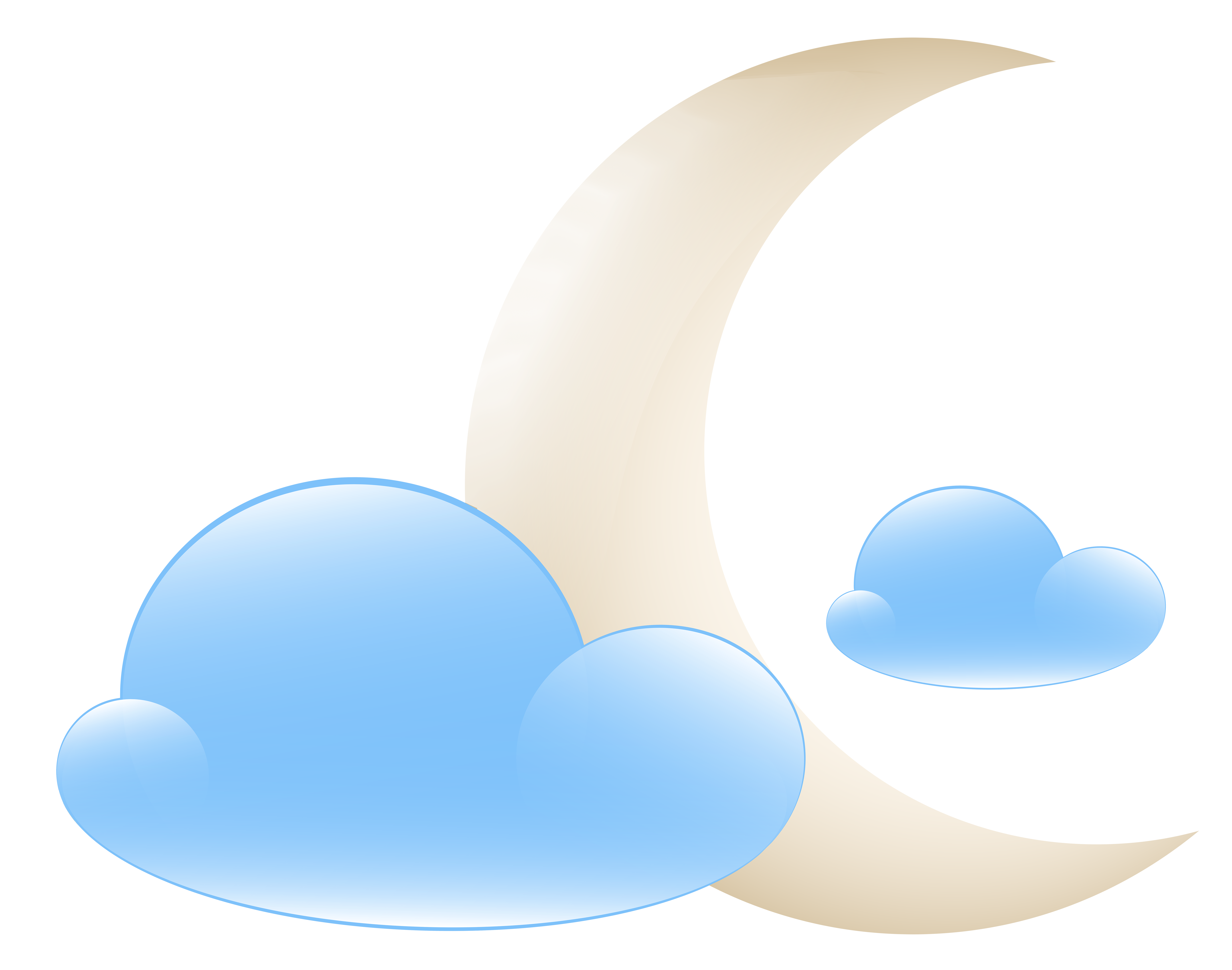 Moon with Clouds Weather Icon PNG Clip Art.