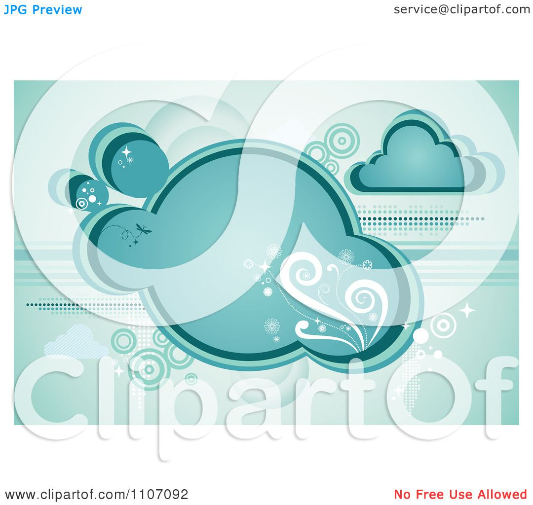 Clipart Turquoise Cloud With Vines Sparkles And Circles.