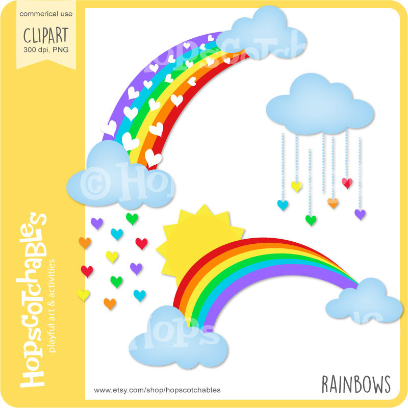 Rainbow Clipart, Digital Rainbow and Clouds, Rainbow Download, Sun.