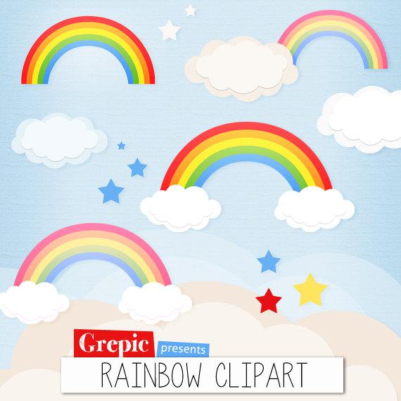 Items similar to Rainbow clipart: