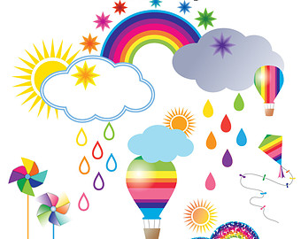 Rainbow Clip art, Weather Clipart, Pencil graphics, Clouds and.