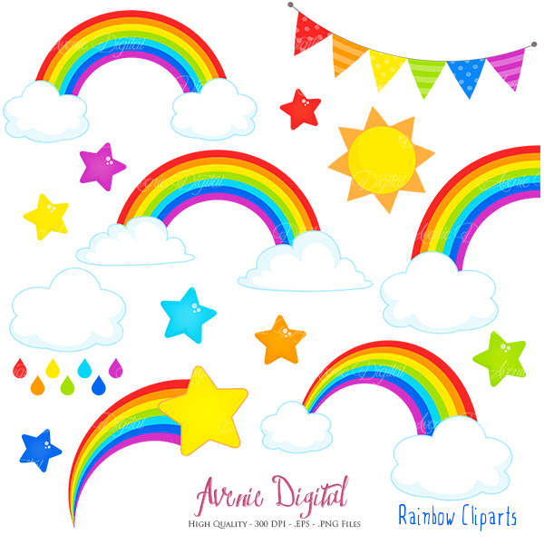 Rainbows Clipart Scrapbook printables, Vector Rainbow and cloud.