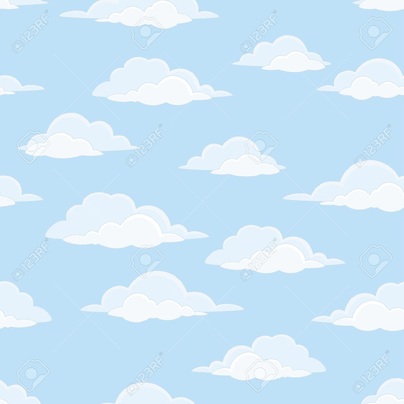 Blue sky with clouds background clipart.