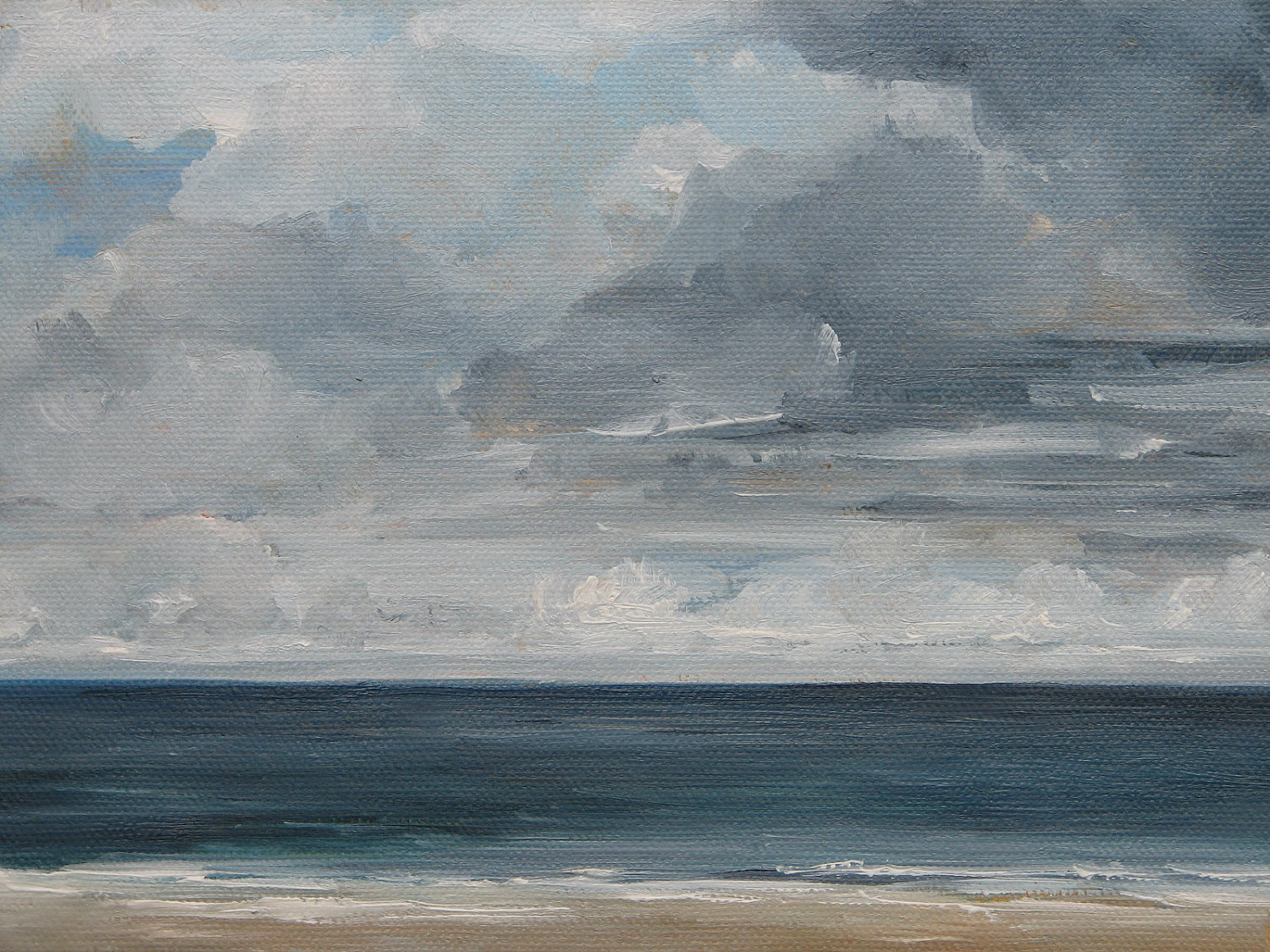 Cloudy Beach Day Original Oil Painting 10x10 by wendydoakart.