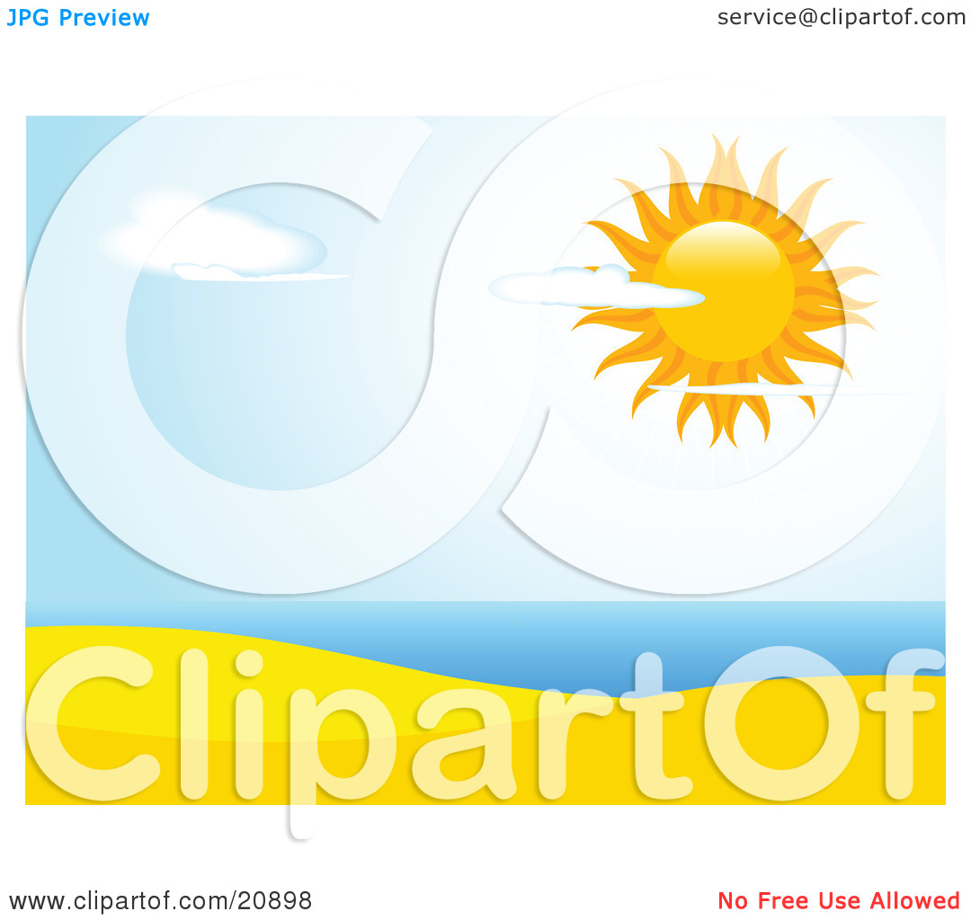 Clipart Illustration of the Sun Shining Brightly In A Partly.
