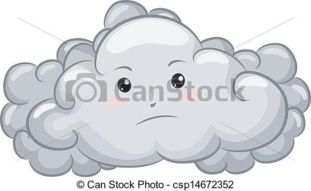 Clipart Vector of Gloomy Dark Cloud Mascot.
