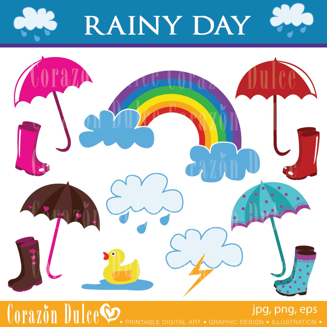 cloudy day and raining clipart #4