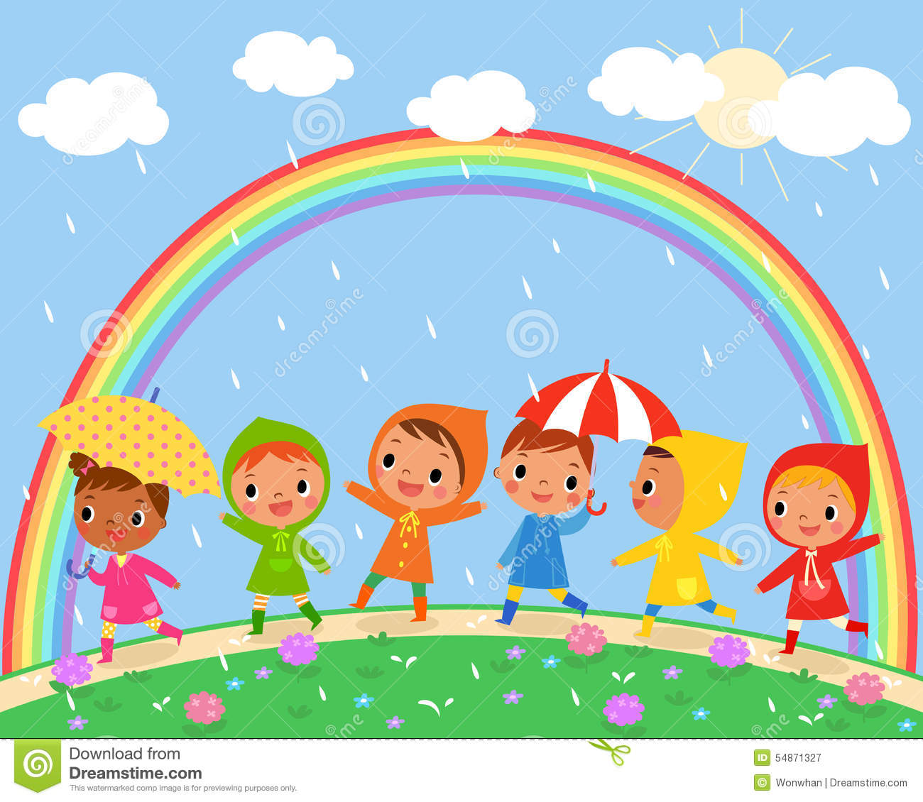 Rainy Day Clip Art: Cloudy Day And Raining Clipart