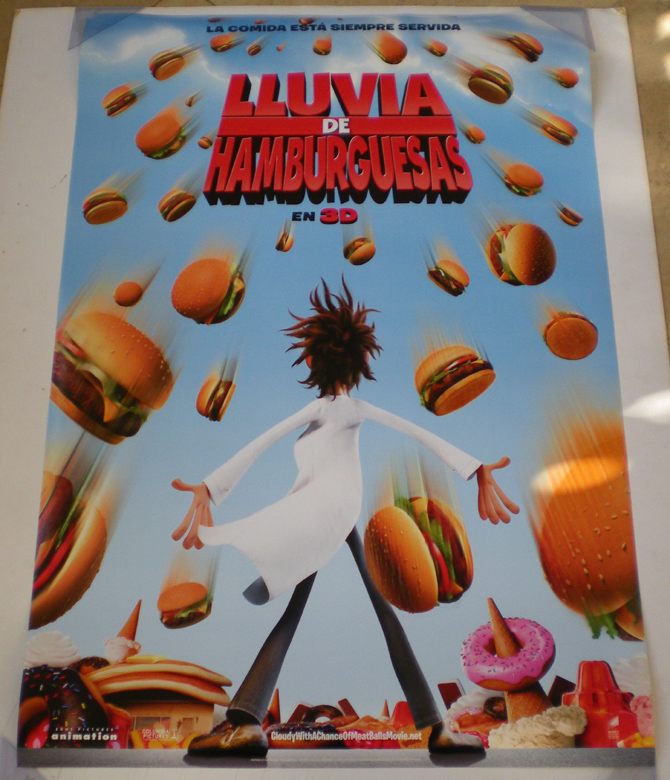 CLOUDY WITH A CHANCE OF MEATBALLS MOVIE POSTER 2 Sided ORIGINAL.