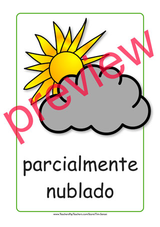 Spanish printable color weather flashcards and weather flash cards..