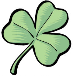 Clipart of Shamrocks and Four Leaf Clovers.