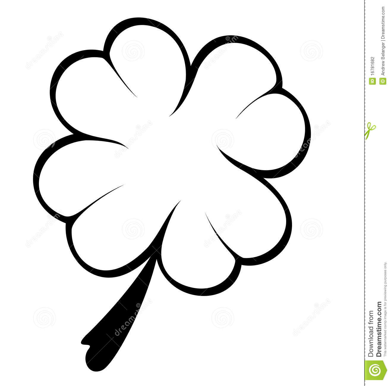 Black And White Four Leaf Clover Stock Vector.