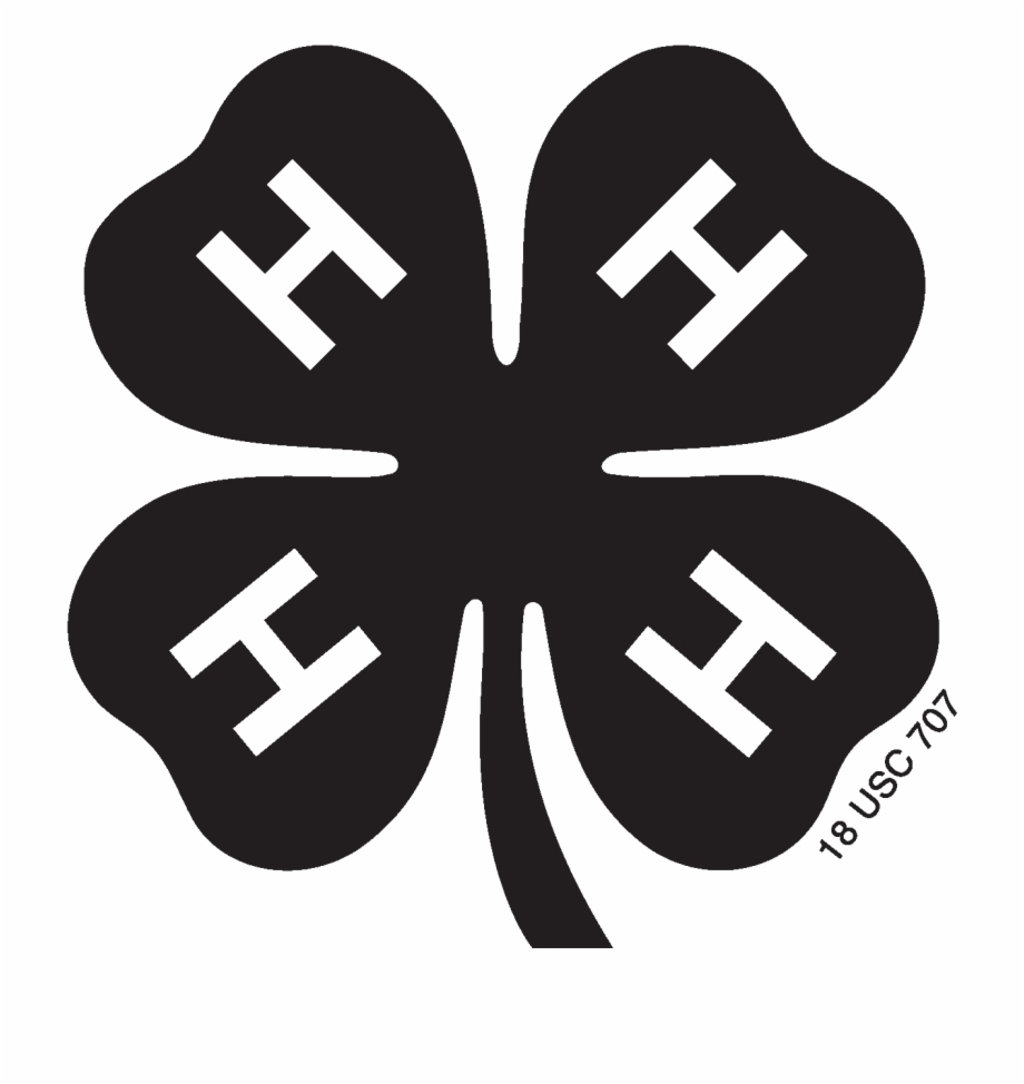 Black And White Library 4h Clover Clipart.