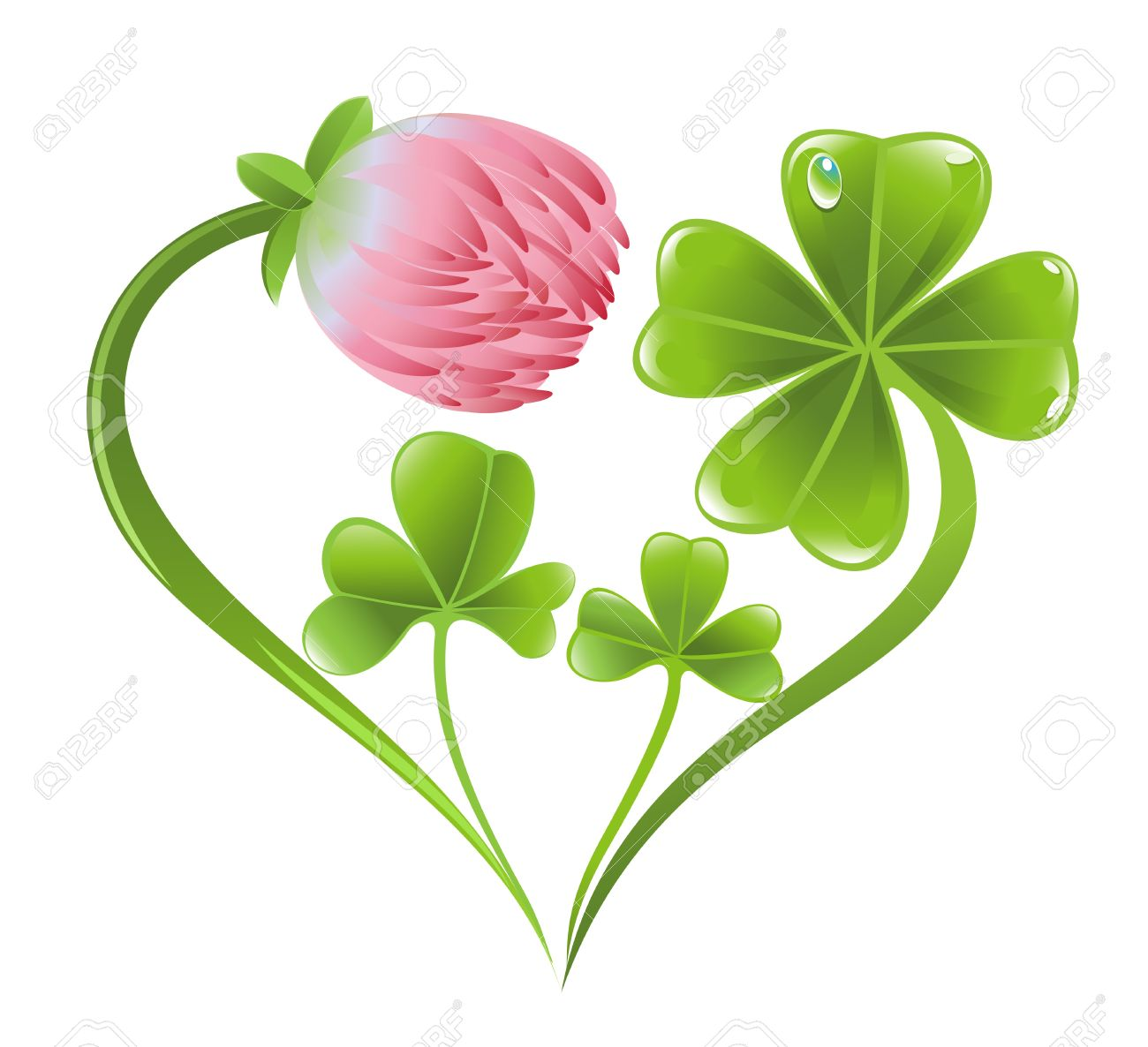 Heart Icon With Clover Leaf And Blossom Royalty Free Cliparts.