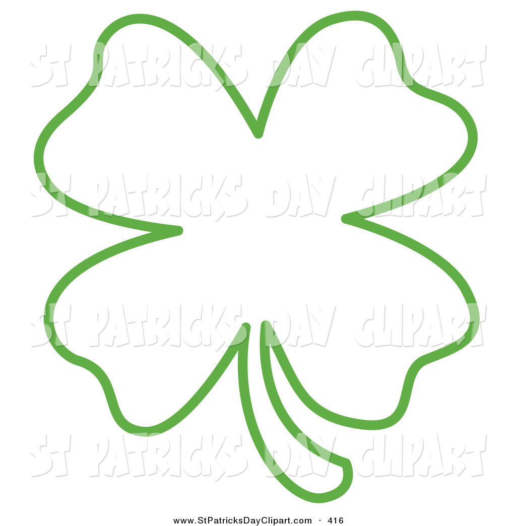 Four Leaf Clover Outline Clipart.