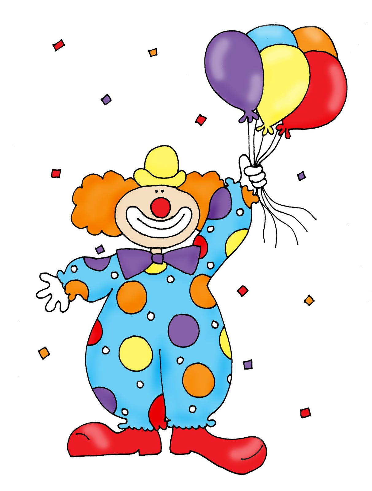 Clipart clown with balloons.