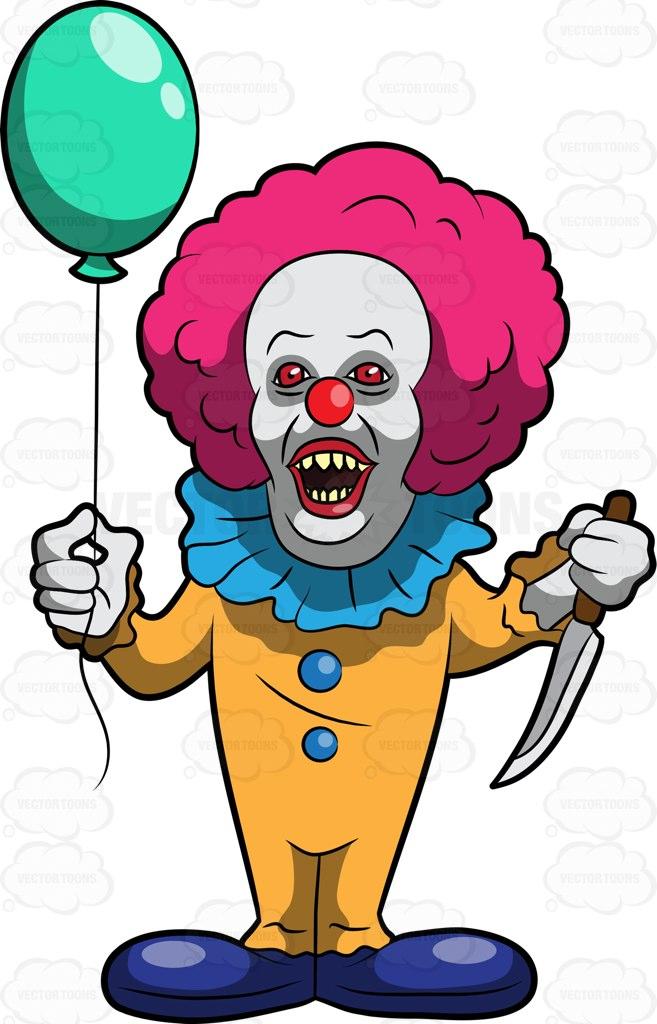 A Scary Clown Killer Cartoon Clipart.