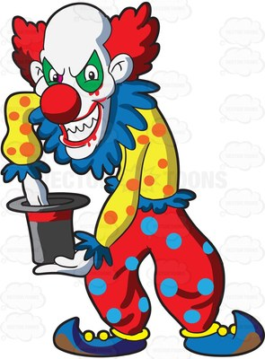 Scary Clowns with Balloons Clip Art.