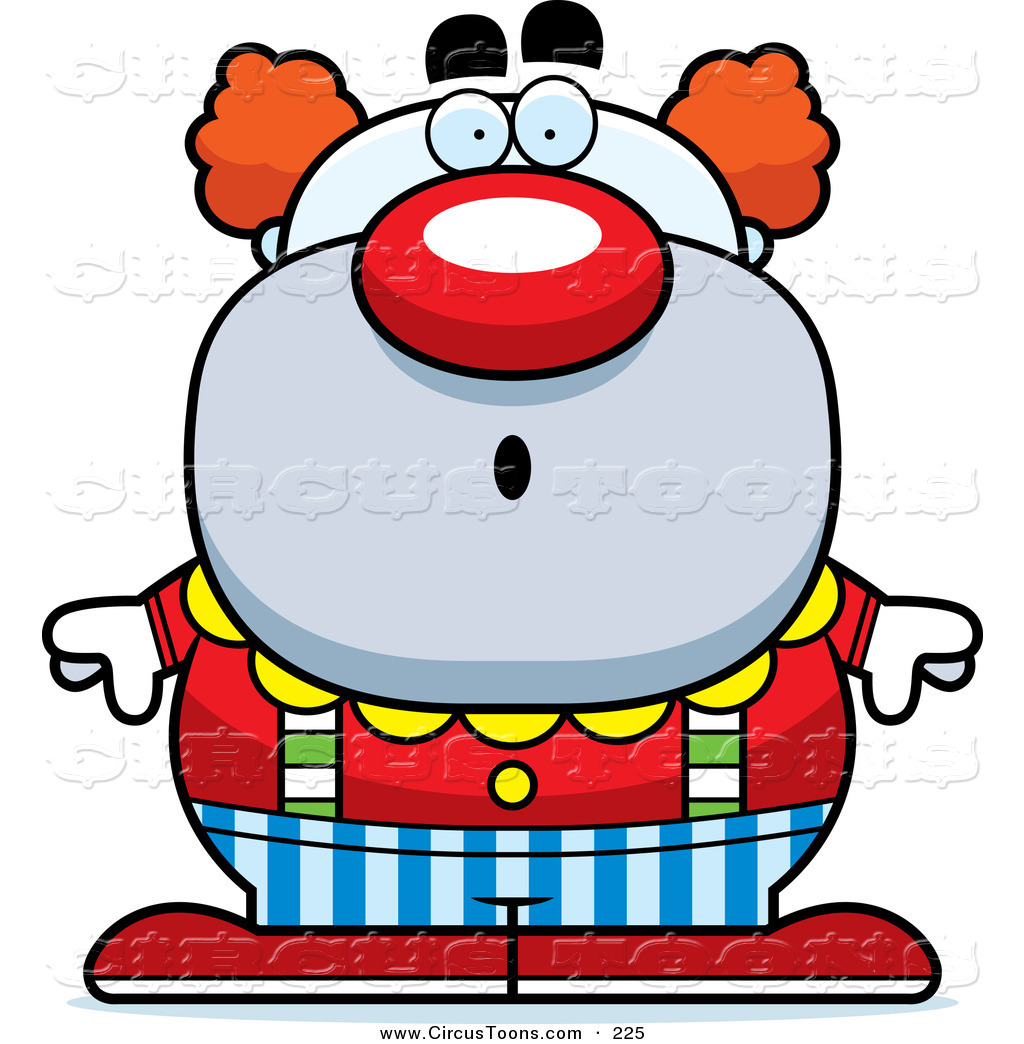 Circus Clipart of a Surprised Pudgy Circus Clown with an Open.