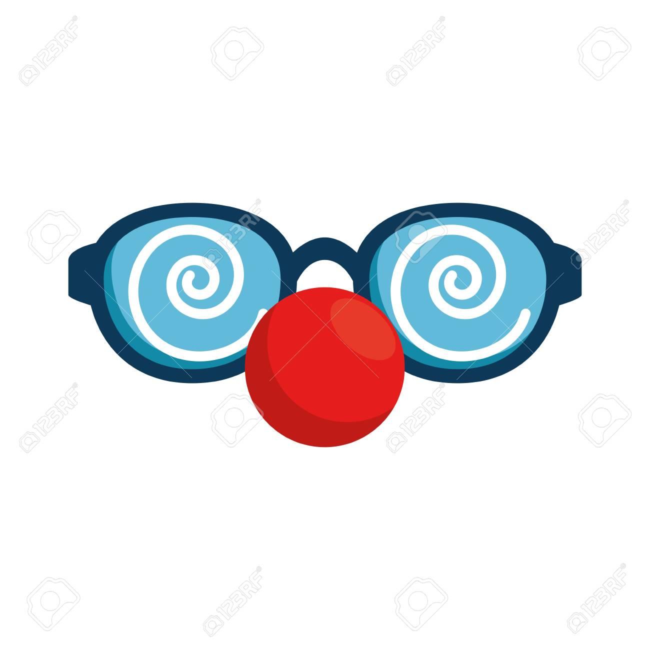 Glasses and clown nose accessory vector illustration design.