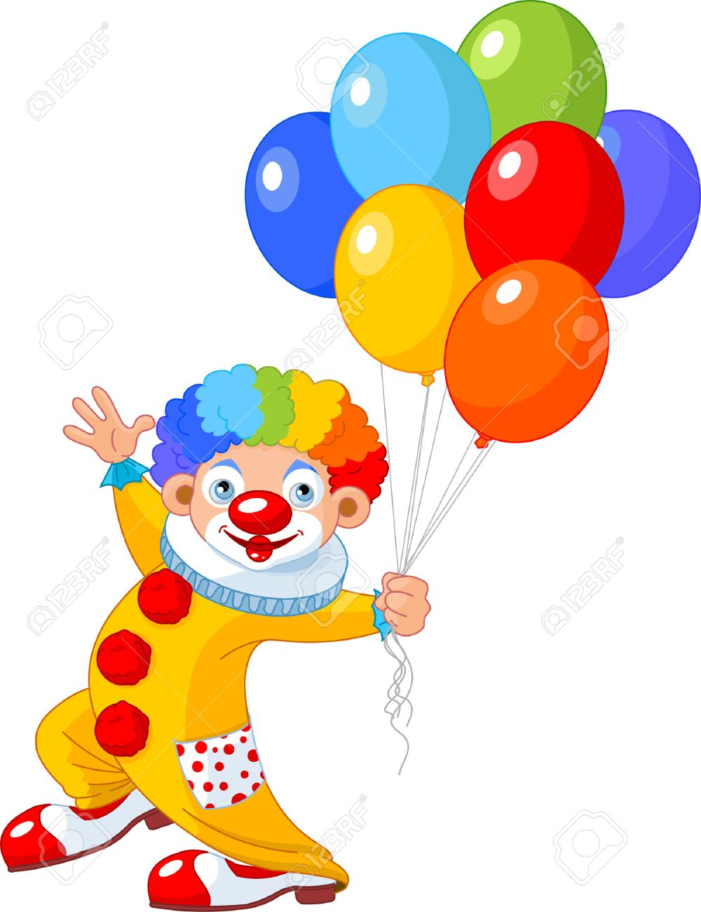 Clown Holding Balloons Clipart.