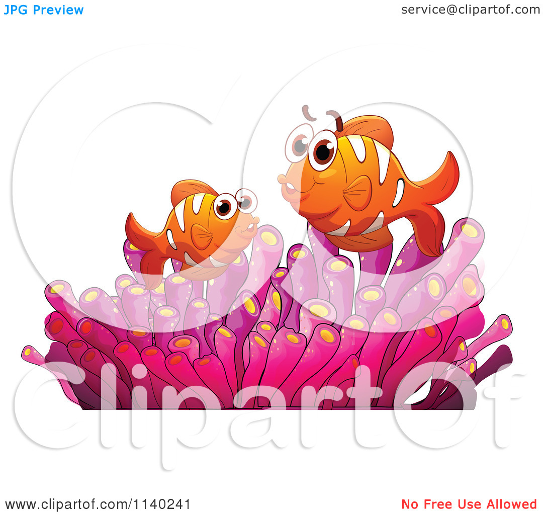 Cartoon Of Clownfish In A Pink Anemone.