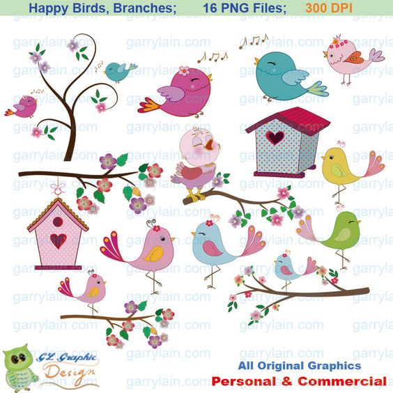Bird clipart, pink blue, bird clip art, girl bird, swirl branch.
