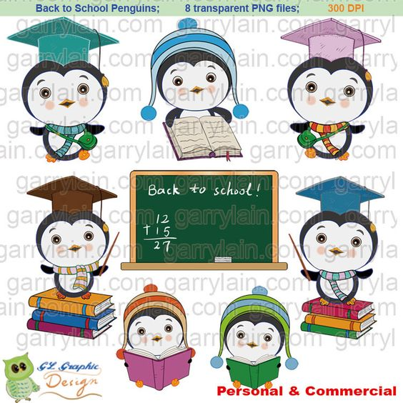 Back to school penguin, Winter penguin clip art, digital penguin.