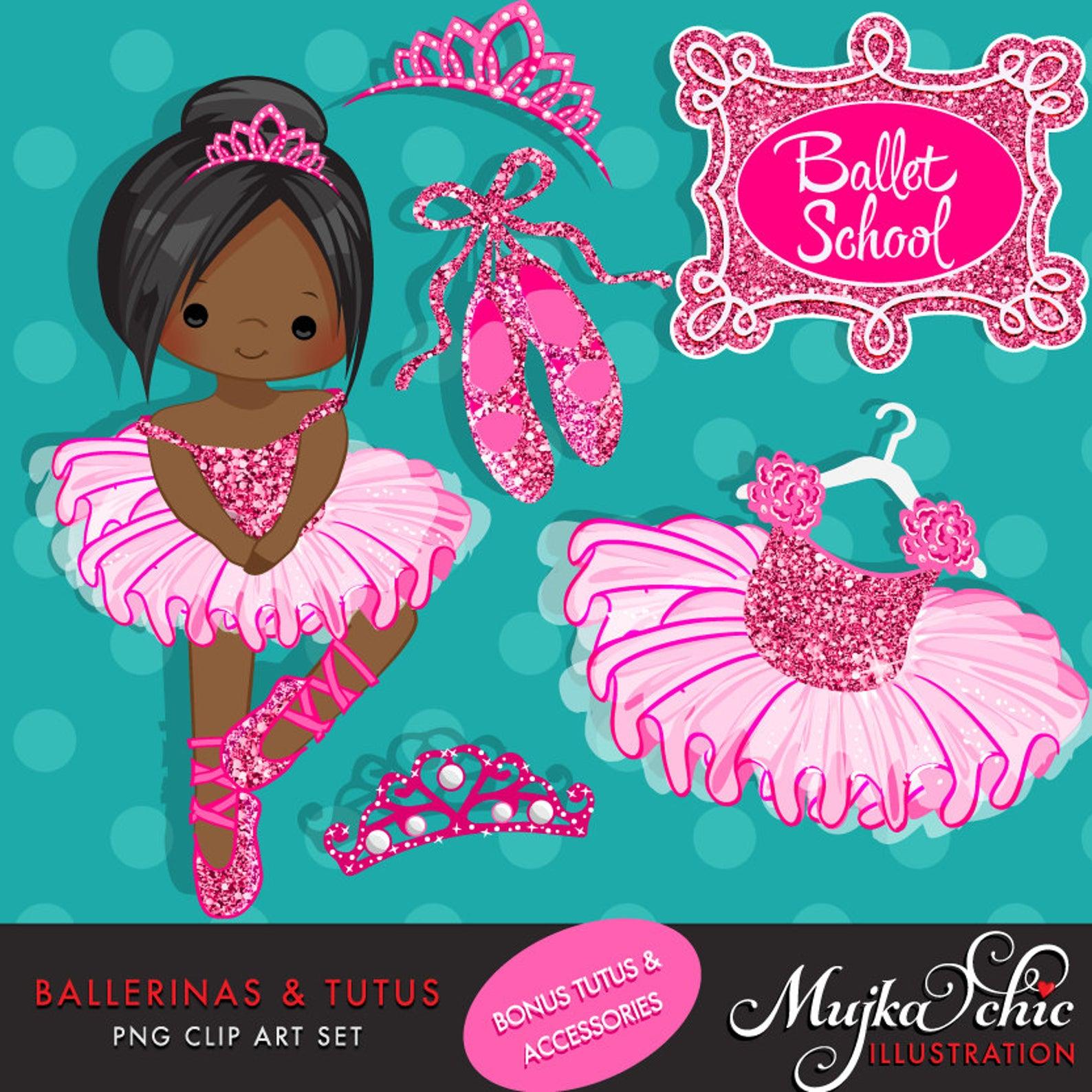 Ballerinas And Tutus Hot Pink Glitter Clipart, Ballerina.
