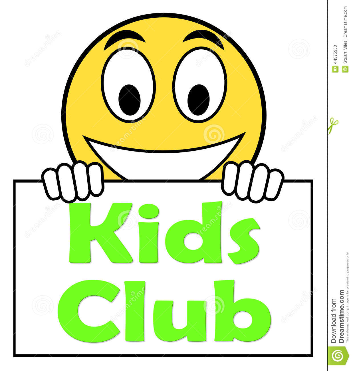 Kids Club On Sign Means Children's Activities Stock Illustration.
