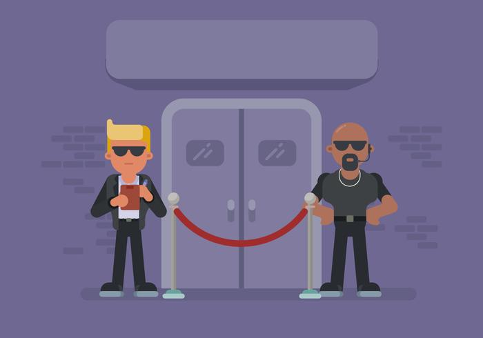 Two Bouncer Guarding Nightclub Door.