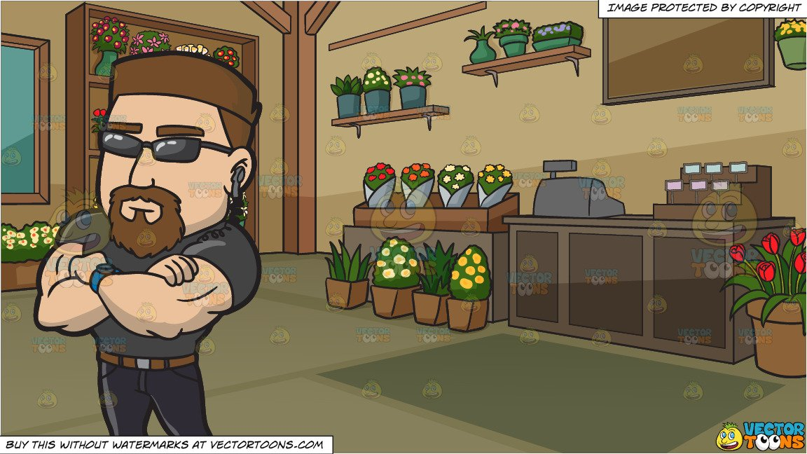 A Professional Club Bouncer and Inside A Floral Store Background.