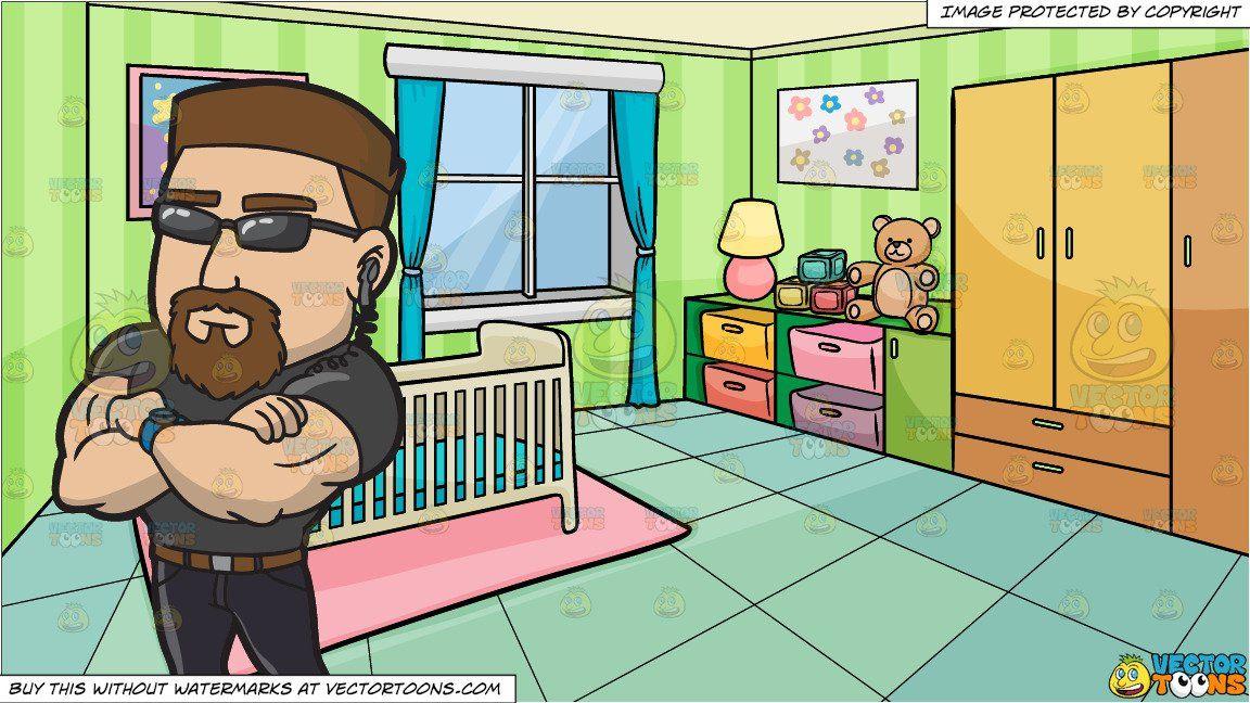clipart #cartoon A Professional Club Bouncer and A Bedroom.