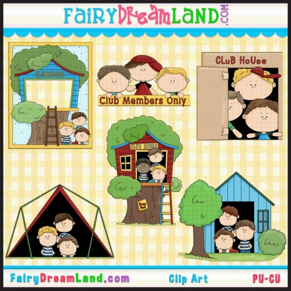 Kid club house clipart.