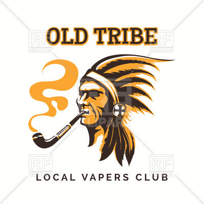 Emblem with tribal american indian and pipe.