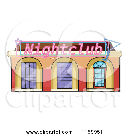 Cartoon of a Night Club Building Facade.