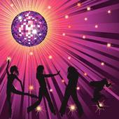Clipart of people dancing in night.