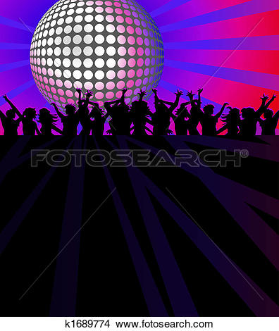 Clipart of Night Club Crowd k15952695.