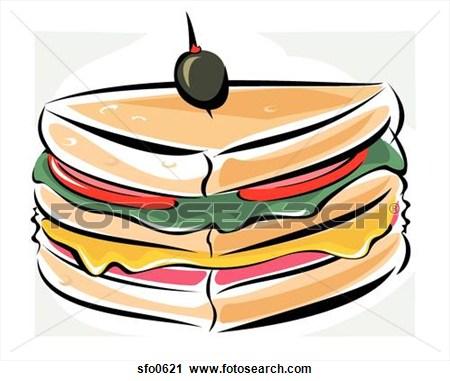 Sub Sandwich Drawing.