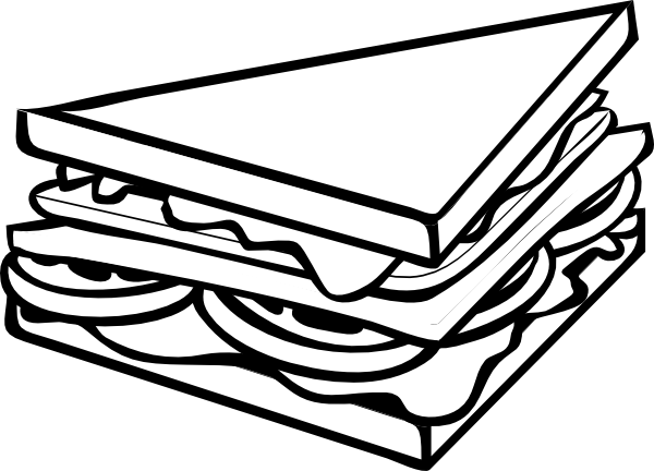 Club box sandwich clipart black and white.