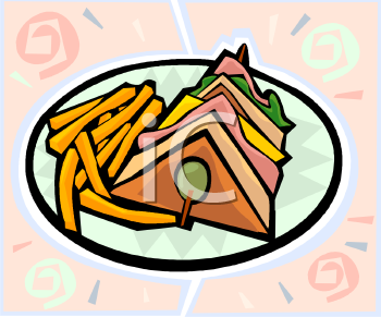 Club Sandwich and Fries Clip Art.