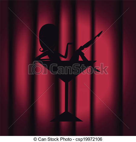 Vector Clipart of night club silhouette.