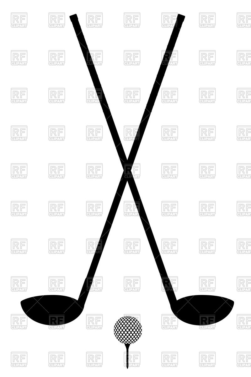 Golf club and ball silhouette isolated on a white background.