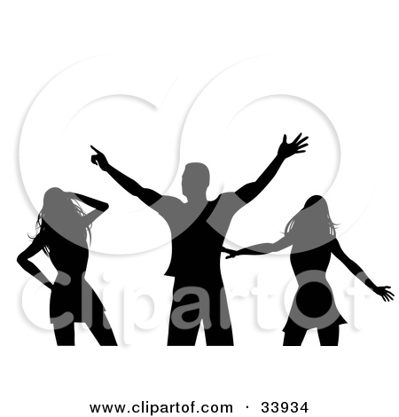 Clipart Illustration of a Man Dancing With Two Sexy Ladies In A.