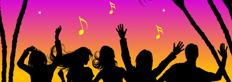 Nightclub dancing silhouettes, Vector Graphic.