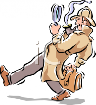 Detective Looking for Clues Clip Art.