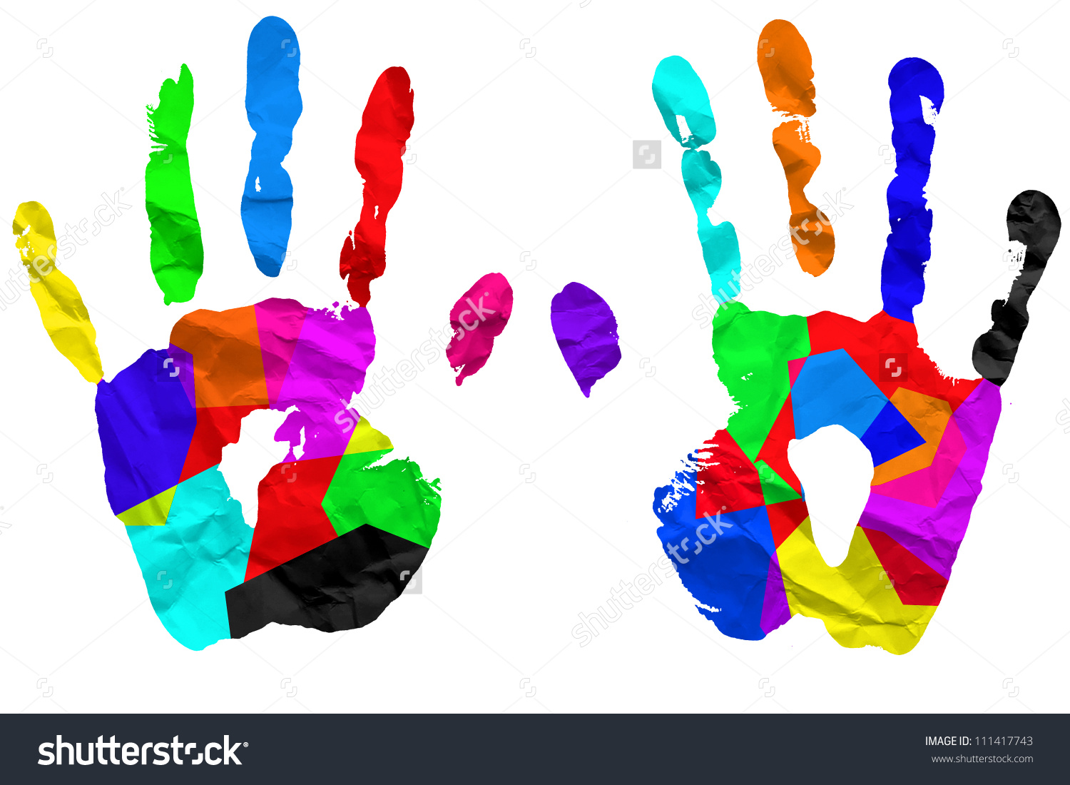 Left Right Hand Colorful Paint On Stock Illustration 111417743.