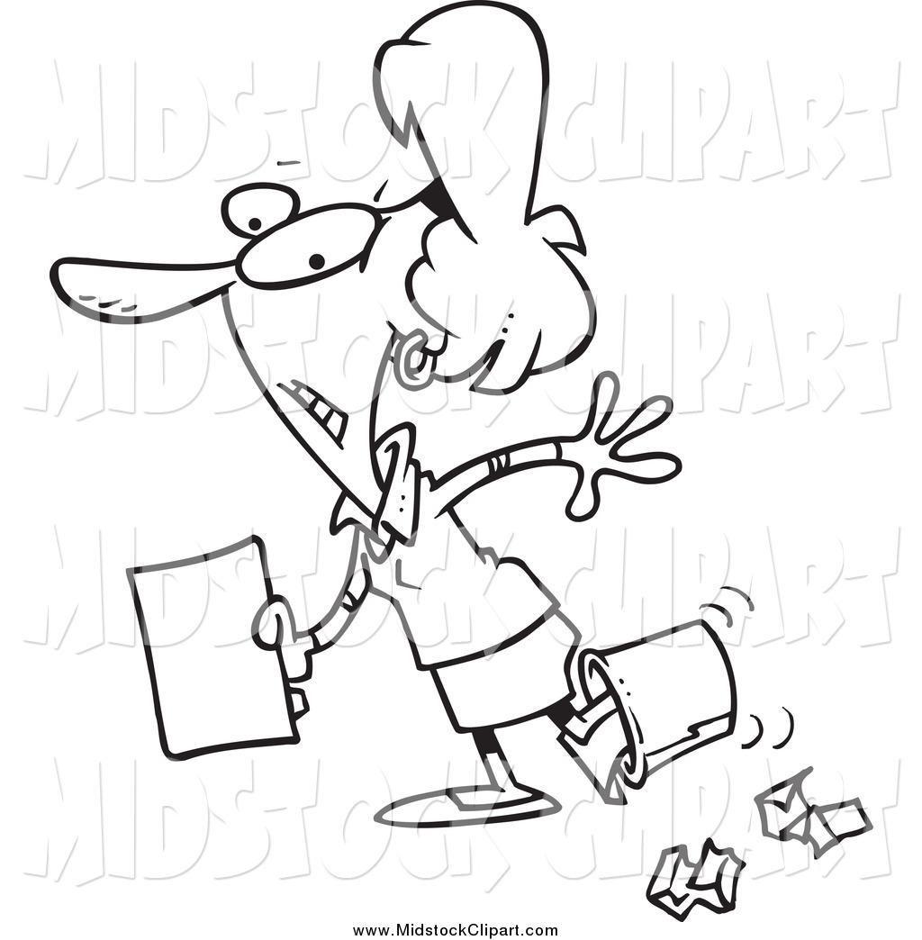 Clip Art of a Black and White Clumsy Businesswoman Walking with.