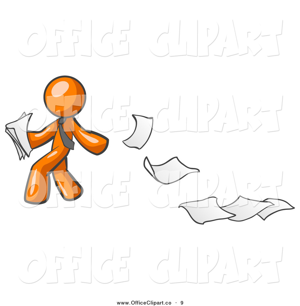 Vector Clip Art of a Clumsy Orange Man Dropping White Sheets of.