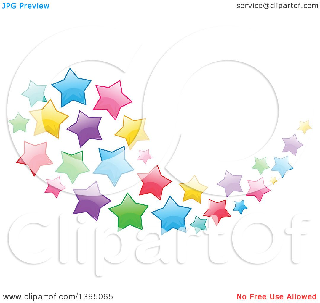 Clipart of a Colorful Swoosh Cluster of Stars.